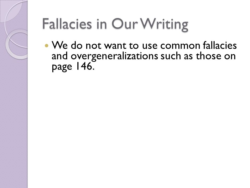 avoid fallacies essay This paper will be focused on four common logical fallacies that can be deceitful yet very when coming up with an argumentative essay, it is best to avoid the.