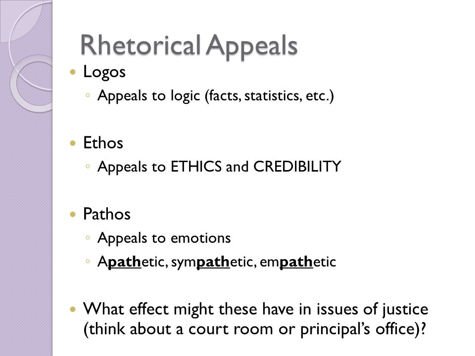 rhetorical appeals Distribute copies of the the three rhetorical appeals worksheet explain to students that rhetoric is a term for writing or speaking effectively.