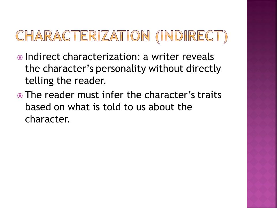 Characterization (indirect)
