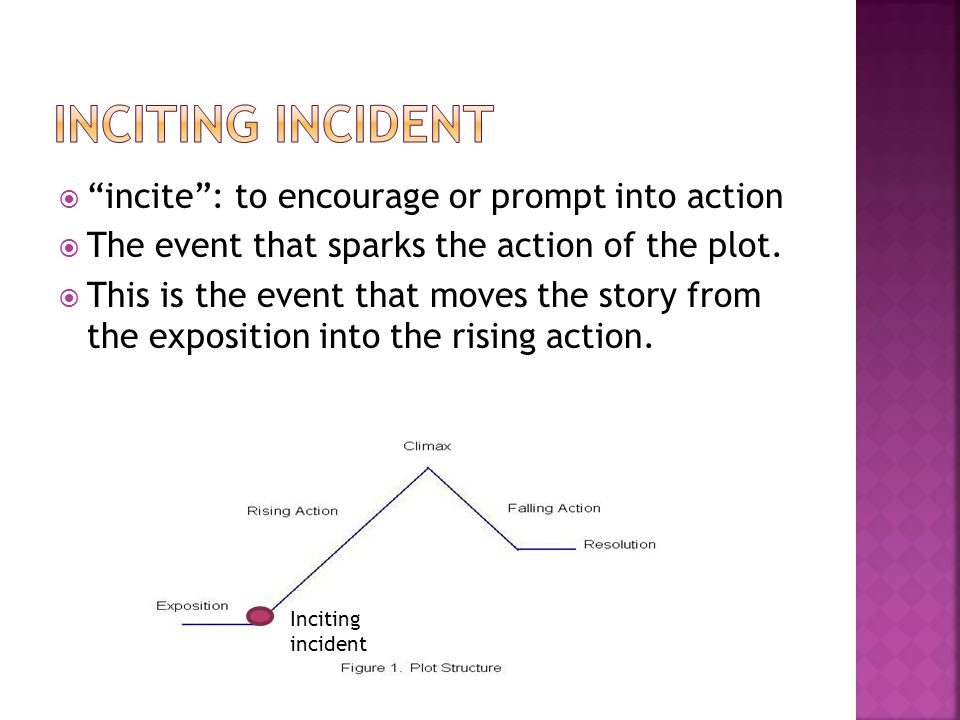 Inciting incident incite : to encourage or prompt into action