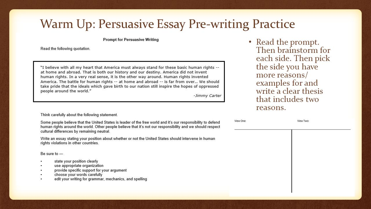 warm up persuasive essay pre writing practice ppt video online  warm up persuasive essay pre writing practice