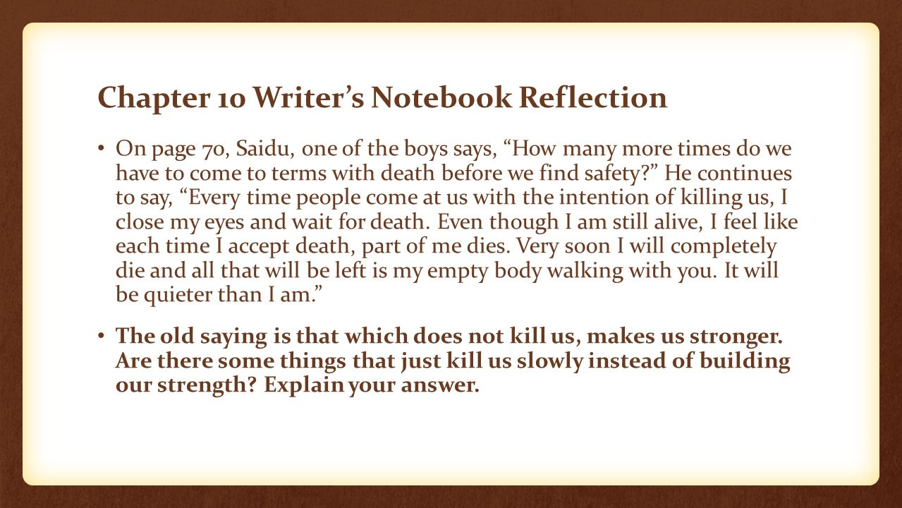 reflection essay on the notebook Reflective essay write a reflective essay jim burke, writing reminders ch 51, pp 272-281 step 15: formative assessment reflective essay read the description below of a reflective essay by serena spinello and in your readers notebook write in your own words a paragraph telling what you think makes a reflective essay.