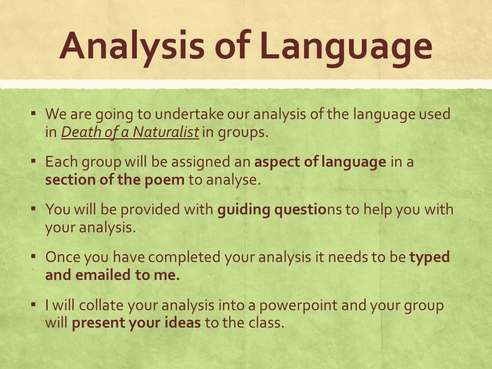 how to start a language analysis