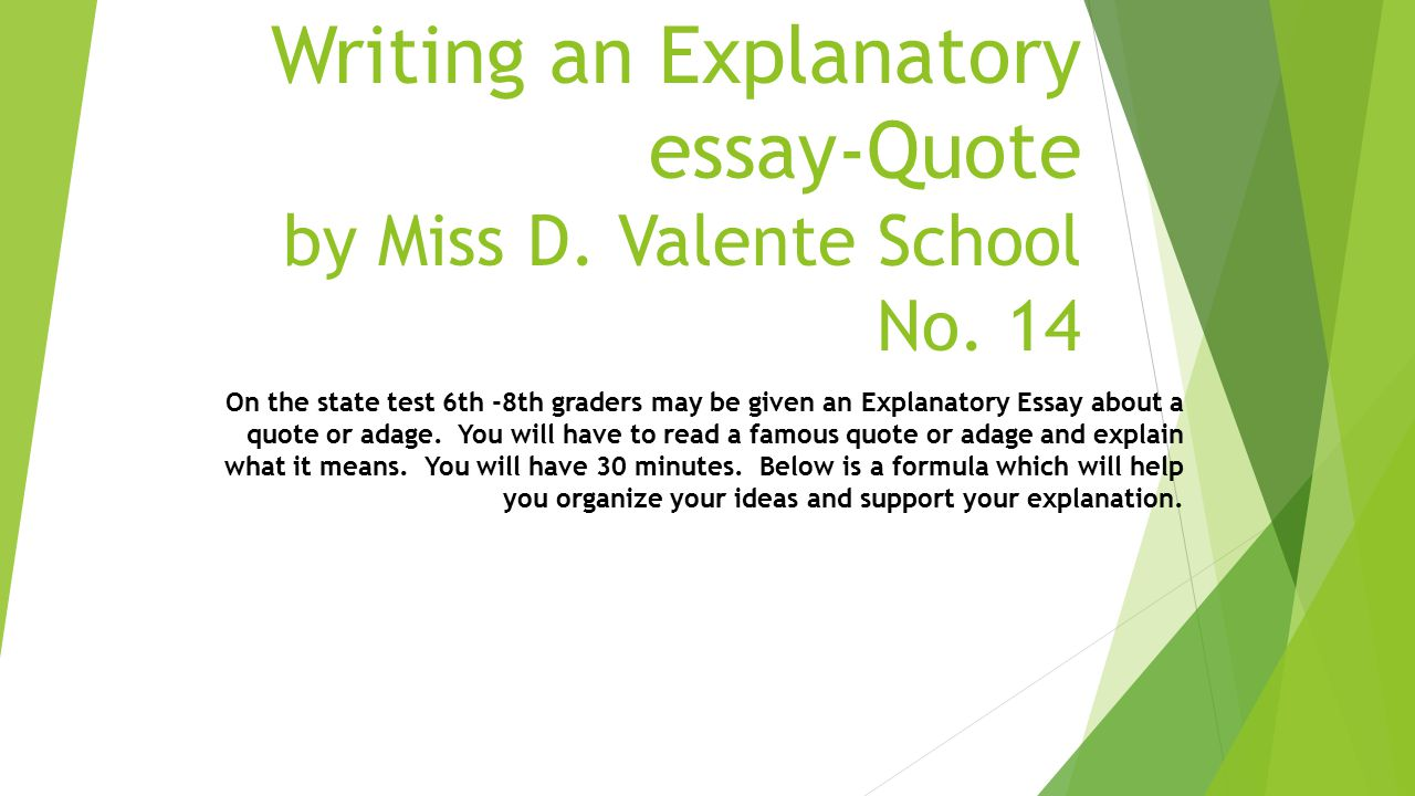 explanatory essay middle school An expository essay requires the greatest amount of time  a teacher/student  chooses a related piece of text (from book.