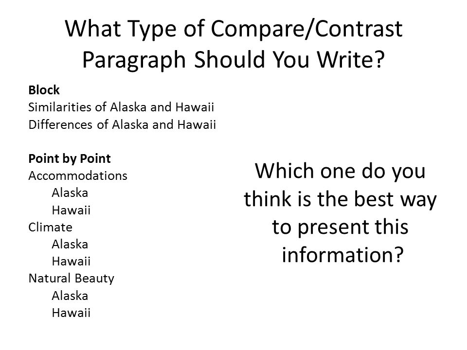 Compare contrast paragraph ppt video online download Types of contrast
