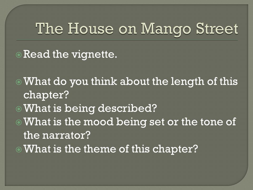 The house on mango street thesis statement