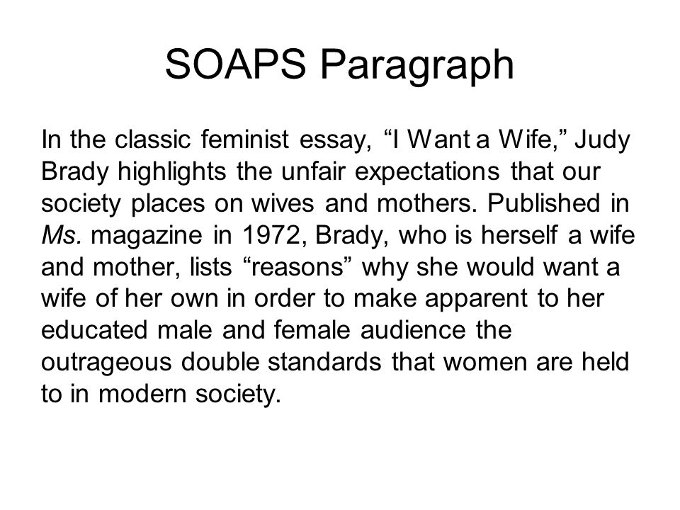 "the literary rhetorical analysis paragraph ppt video online  19 soaps paragraph in the classic feminist essay ""i want a wife "" judy brady"