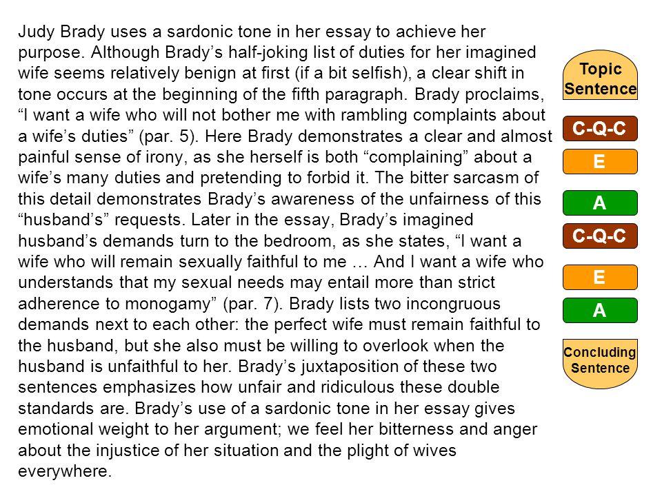 the literary rhetorical analysis paragraph ppt video online 20 judy brady