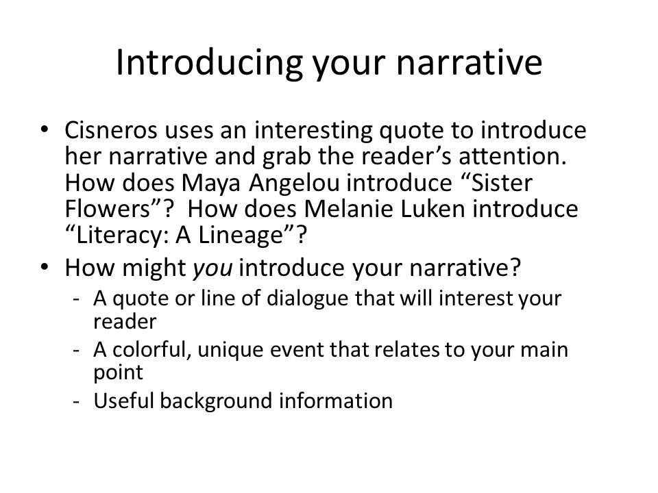 literacy narrative essay reading A literacy narrative is a specific one that deals with your experiences with reading and writing  literacy narratives can be about all papers must.