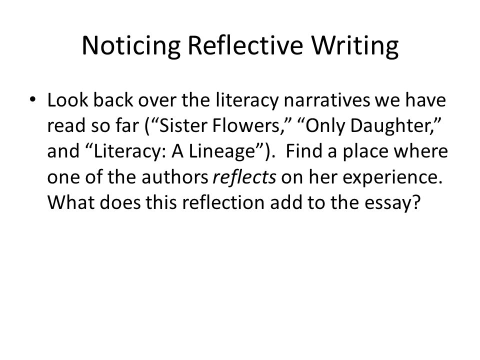 how to write a literacy narrative reflection