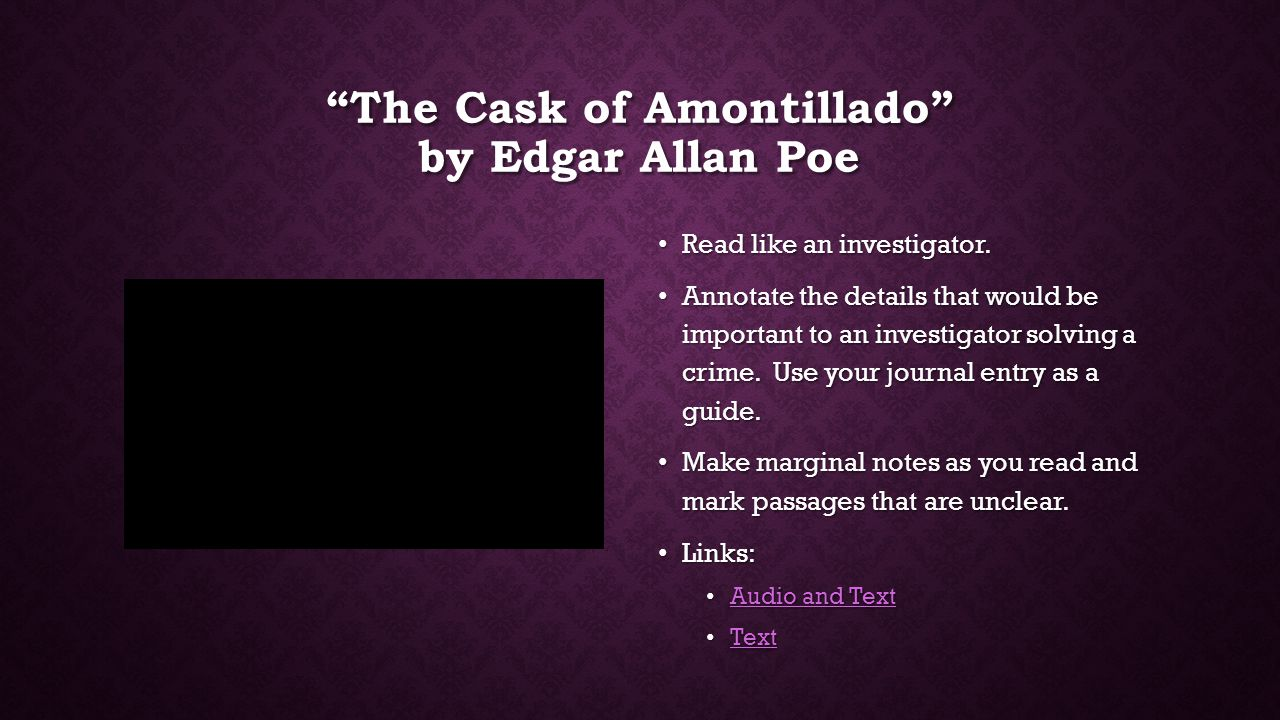 bellringer and sotw practice ppt 3 the cask of amontillado