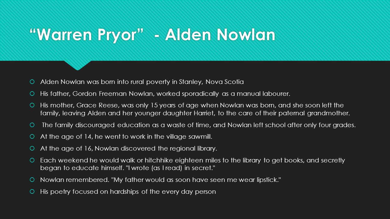 alden nowlan essays on his works He and nowlan's mother left the raising of alden and his sister to  learned  journalism while writing poems that were published in his first book.