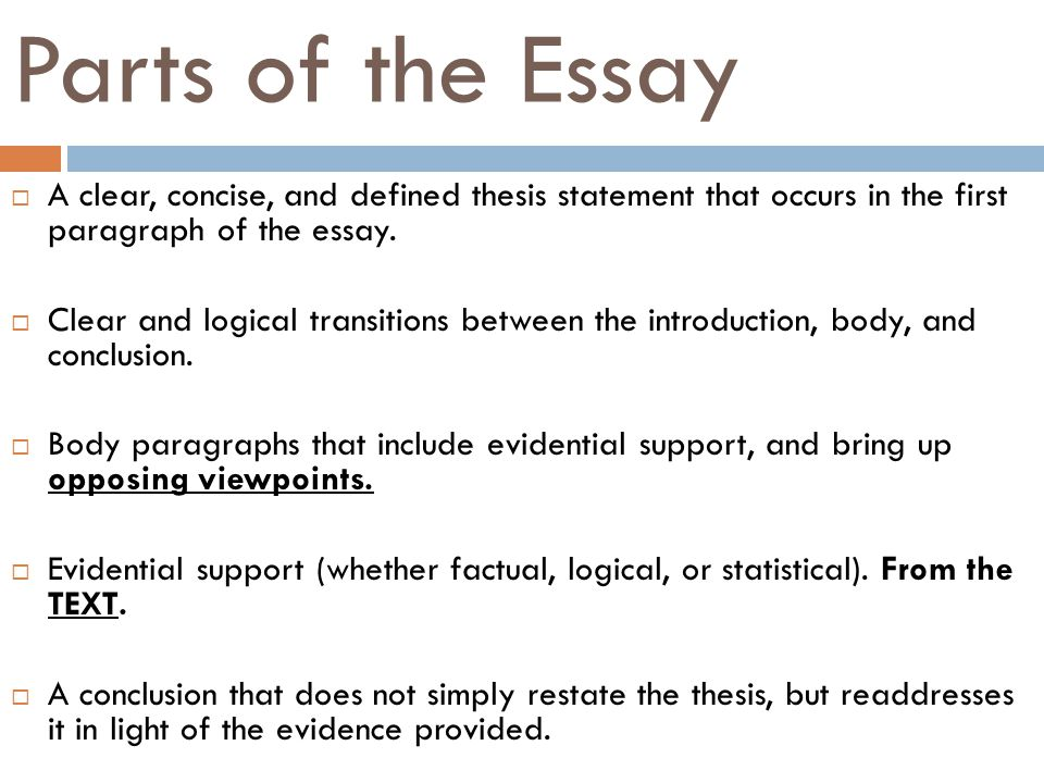 Essay Writing Examples English Parts Of The Essay A Clear Concise And Defined Thesis Statement That  Occurs In English Reflective Essay Example also English Essay Introduction Example Argumentative Essay  Ppt Video Online Download Sample Essay English
