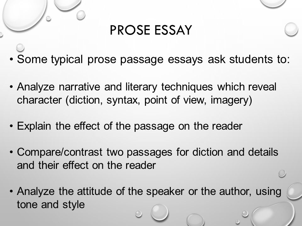 prose passage essay questions Example candidate responses  part 2 includes examples of empathic responses to questions set on both drama and prose texts  (passage-based and essay questions.