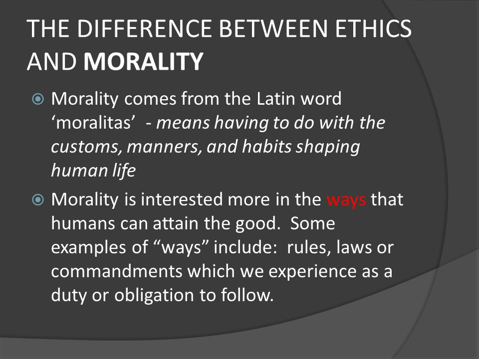 the difference between ethics and morals What is the difference between morals and ethics learn how to use ethics and morals with definitions and example sentences morality vs ethics.