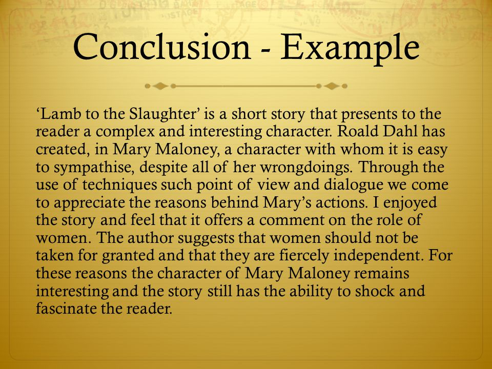 a report on lamb to the slaughter a short story by roald dahl Lamb to the slaughter by roald dahl short stories activity type group or individual in the story lamb to the slaughter.