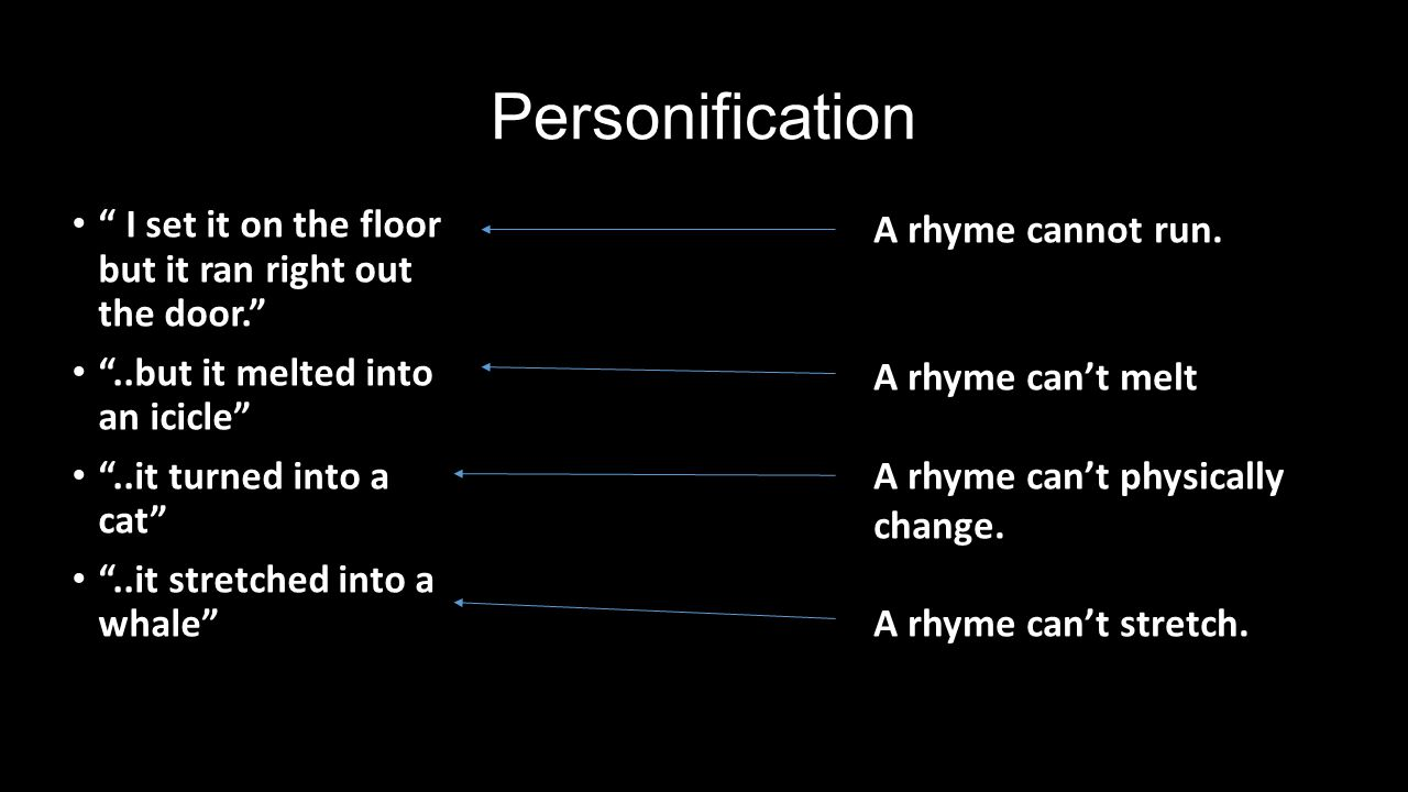 Personification I set it on the floor but it ran right out the door.  sc 1 st  SlidePlayer & Poetry Out Loud Kacey Cowley. - ppt video online download
