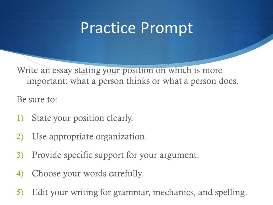 practice essay prompts for high school