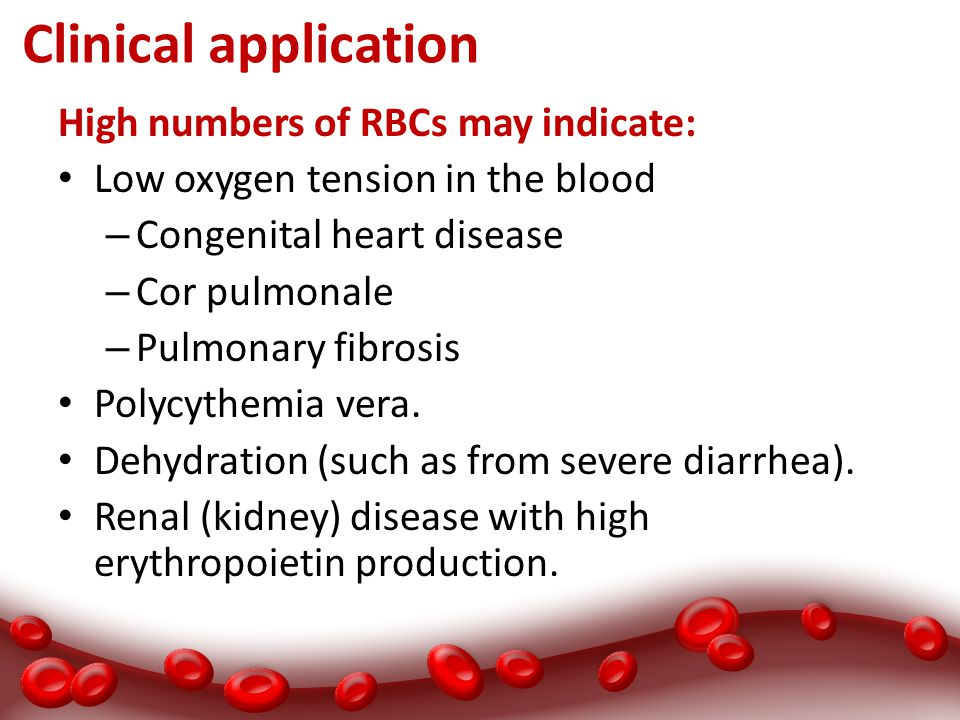 Clinical application High numbers of RBCs may indicate: