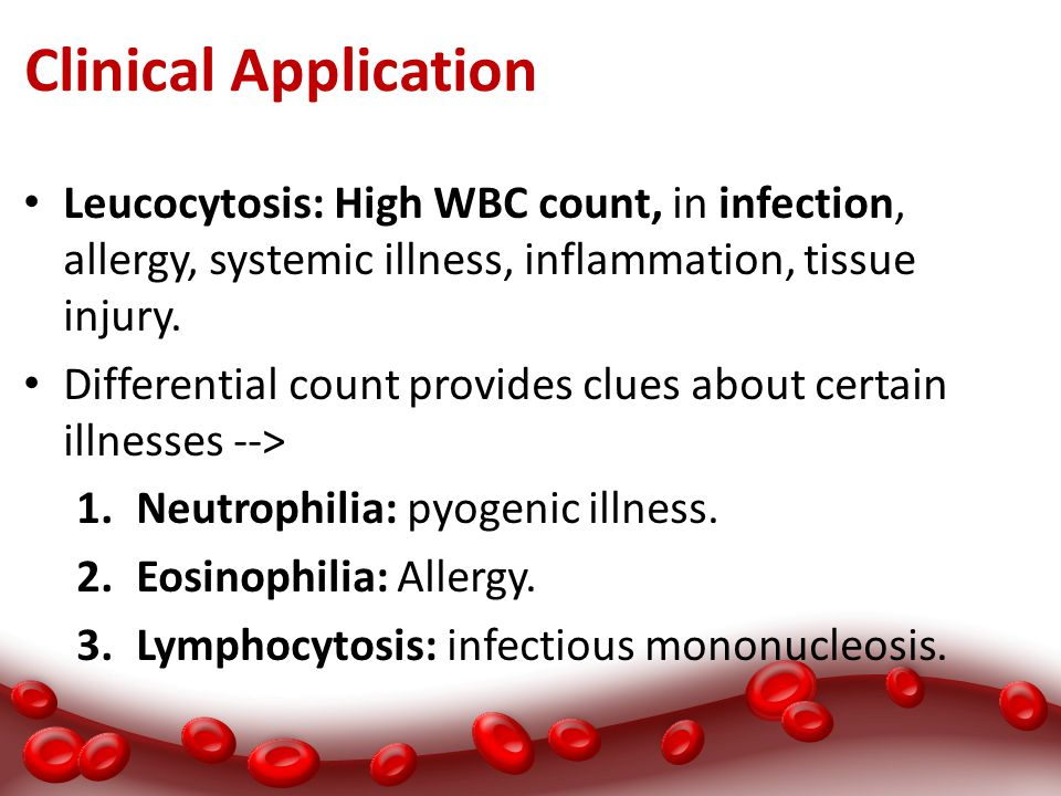 Clinical Application Leucocytosis: High WBC count, in infection, allergy, systemic illness, inflammation, tissue injury.
