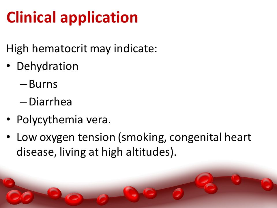 Clinical application High hematocrit may indicate: Dehydration Burns