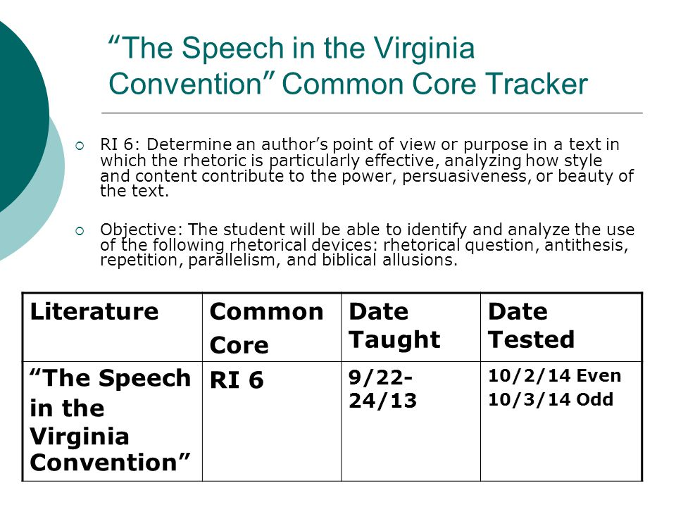 The Speech in the Virginia Convention Common Core Tracker