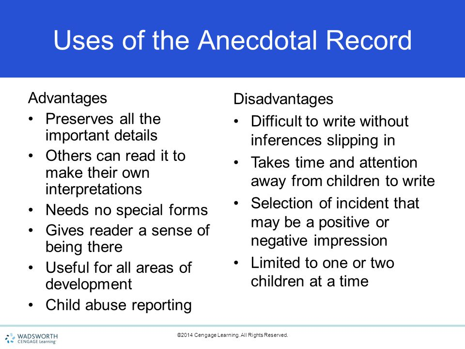 advantage and disadvantages to using anecdotal records Advantages and disadvantages of electronic health records  using this electronic health records is very efficient in  advantages and disadvantages of open.