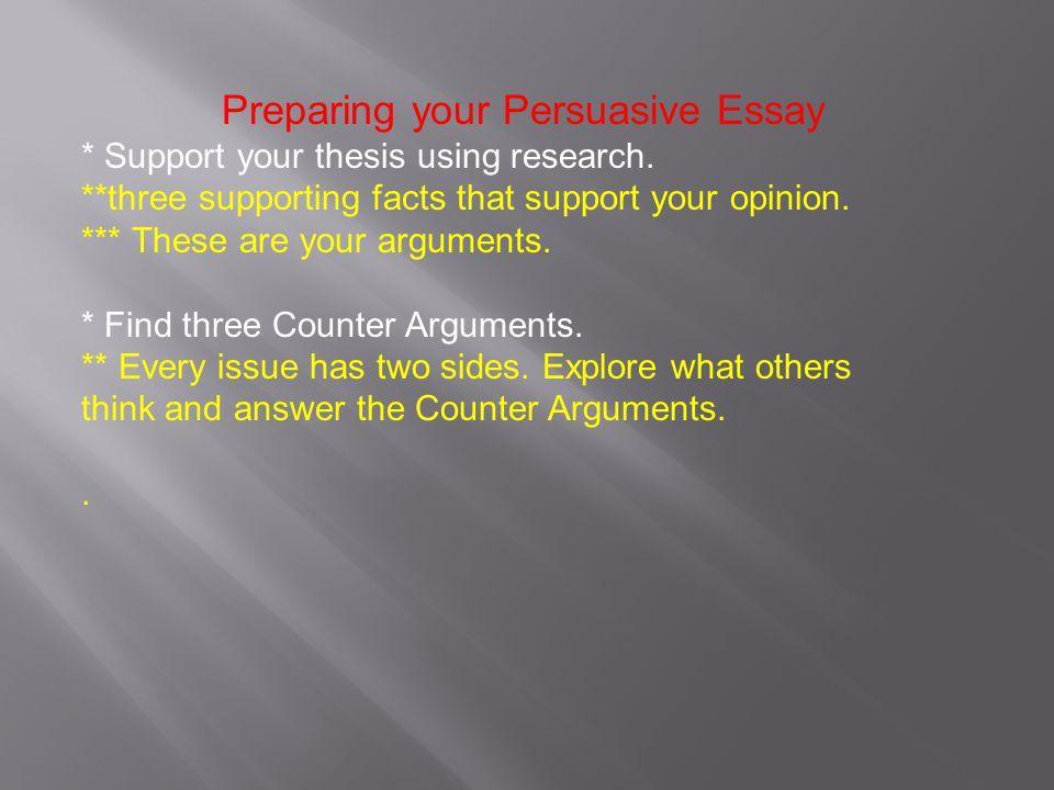 counter arguments in persuasive essays