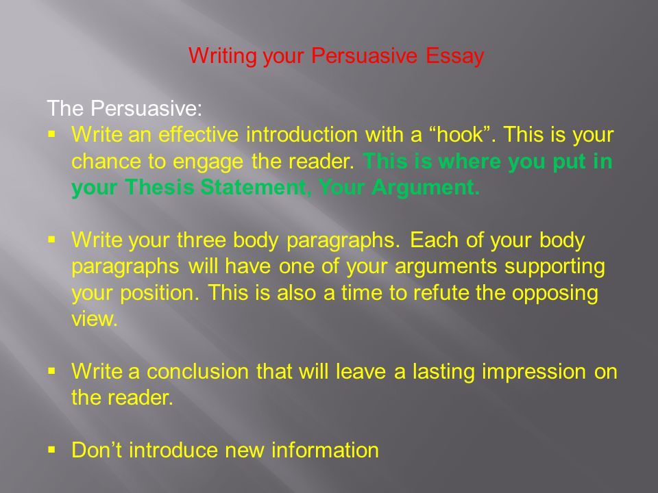 persuasive essay opposing view 7 quick tips for writing a great persuasive essay  make a responsible effort not to mischaracterize opposing views or to allow your personal bias to take the .