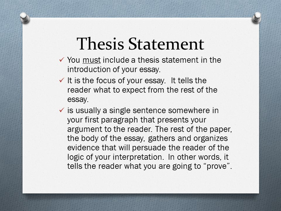 Thesis Statement You must include a thesis statement in the introduction of your essay.