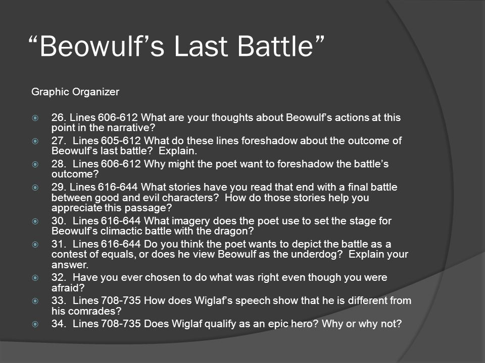 beowulf epic battle graphic organizer Bounty or offered as part of a truce when a battle or feud the epic the epic beowulf is a long narrative poem that use this graphic organizer to help.