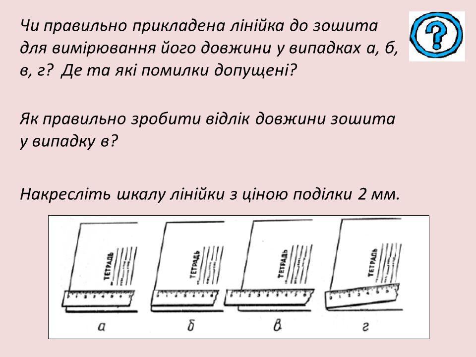 Чи правильно прикладена лінійка до зошита для вимірювання його довжини у випадках а, б, в, г Де та які помилки допущені