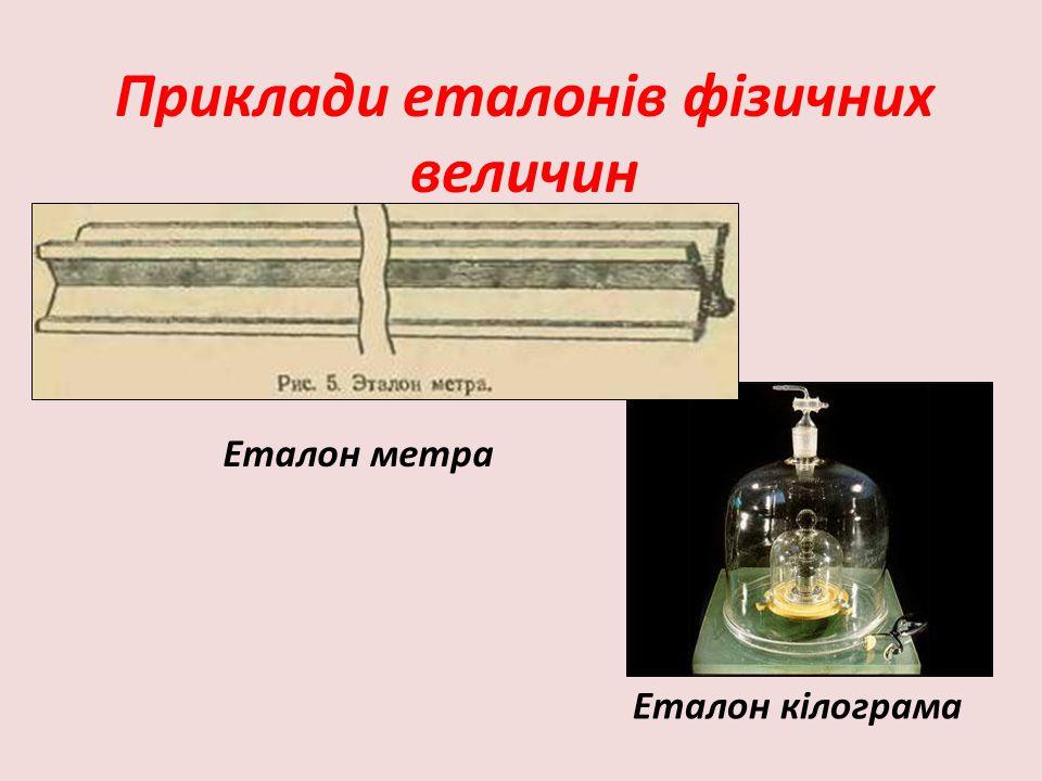 Приклади еталонів фізичних величин
