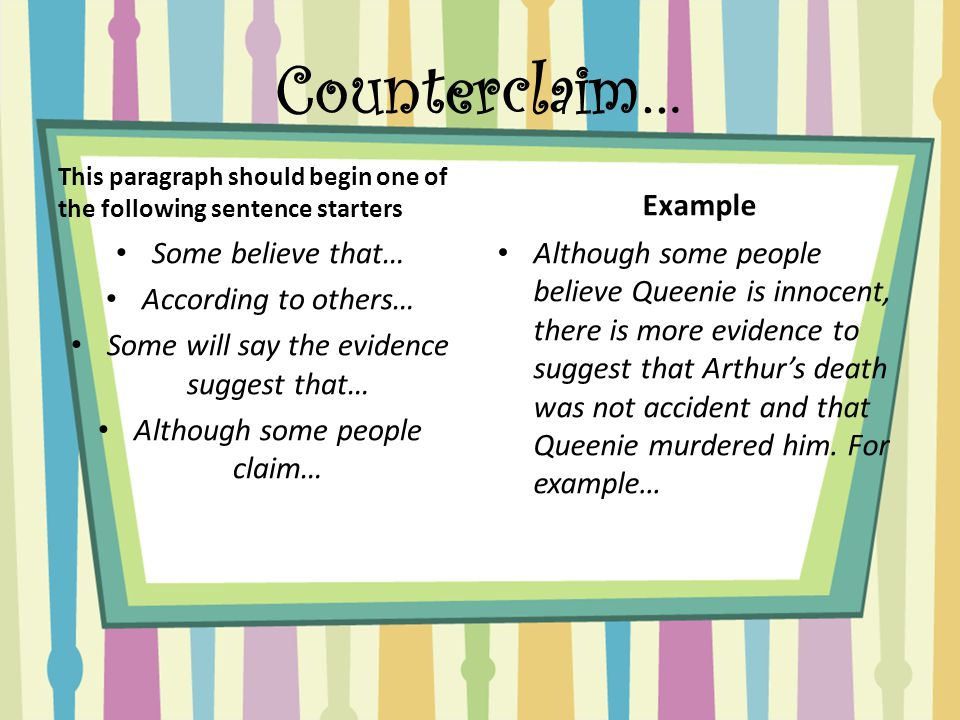 argumentative essay is queenie guilty or innocent ppt video  12 counterclaim