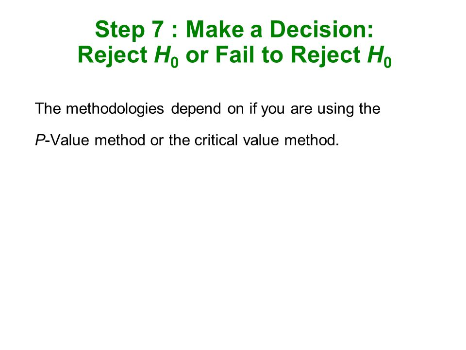 Step 7 : Make a Decision: Reject H0 or Fail to Reject H0