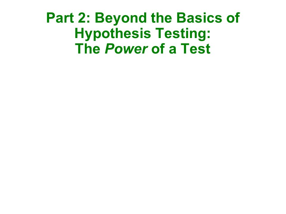 Part 2: Beyond the Basics of Hypothesis Testing: The Power of a Test