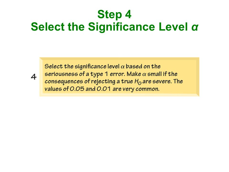 Step 4 Select the Significance Level α