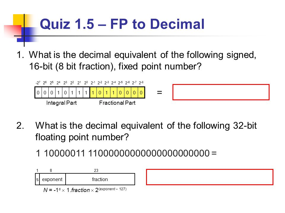 Binary numbers to decimal equivalent