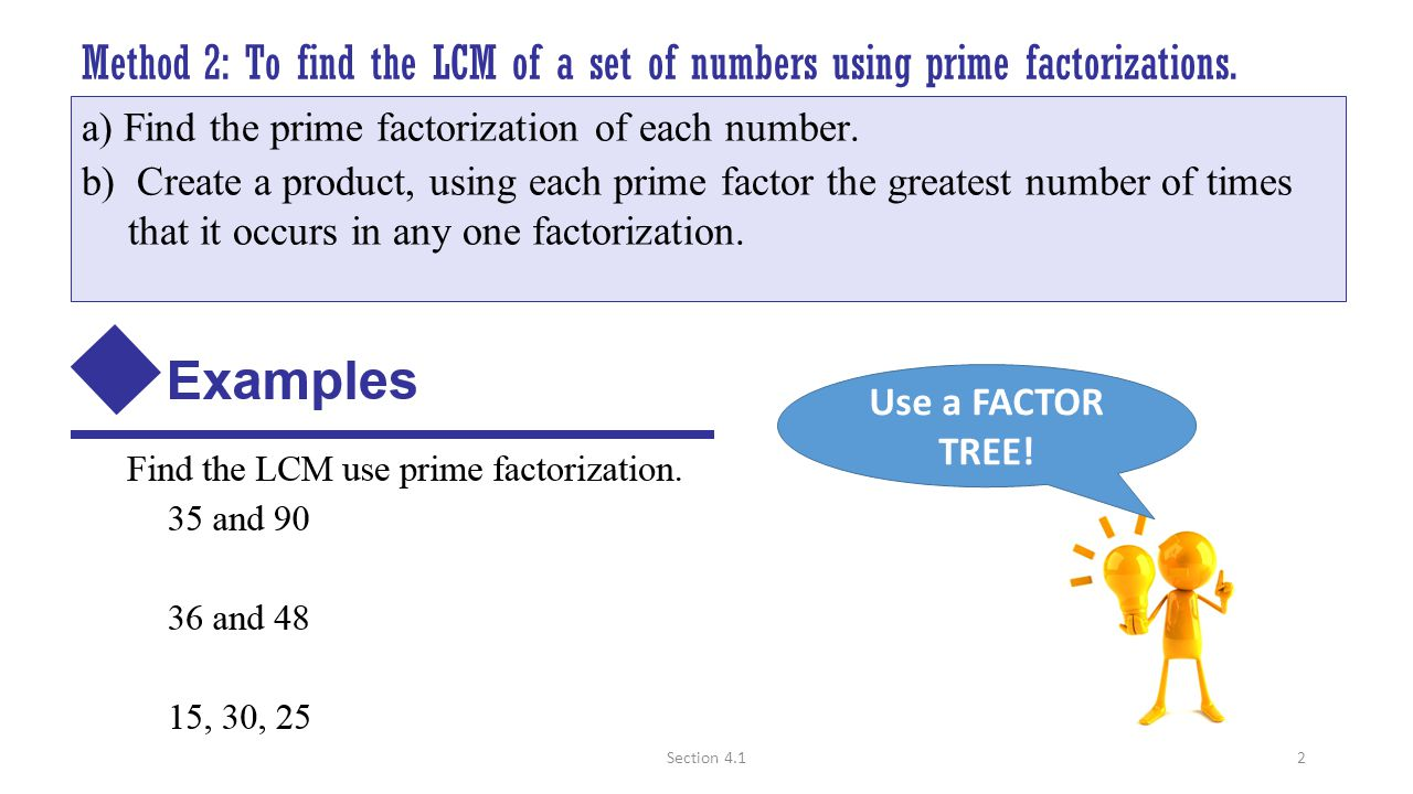 Method 2: To Find The Lcm Of A Set Of Numbers Using Prime Factorizations  The Dividing Fractions 310 Print How