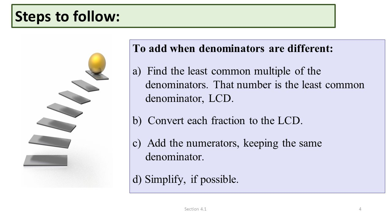 Steps To Follow: To Add When Denominators Are Different: