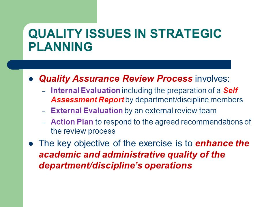 issues involved in strategic planning
