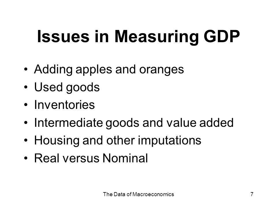 Issues in Measuring GDP