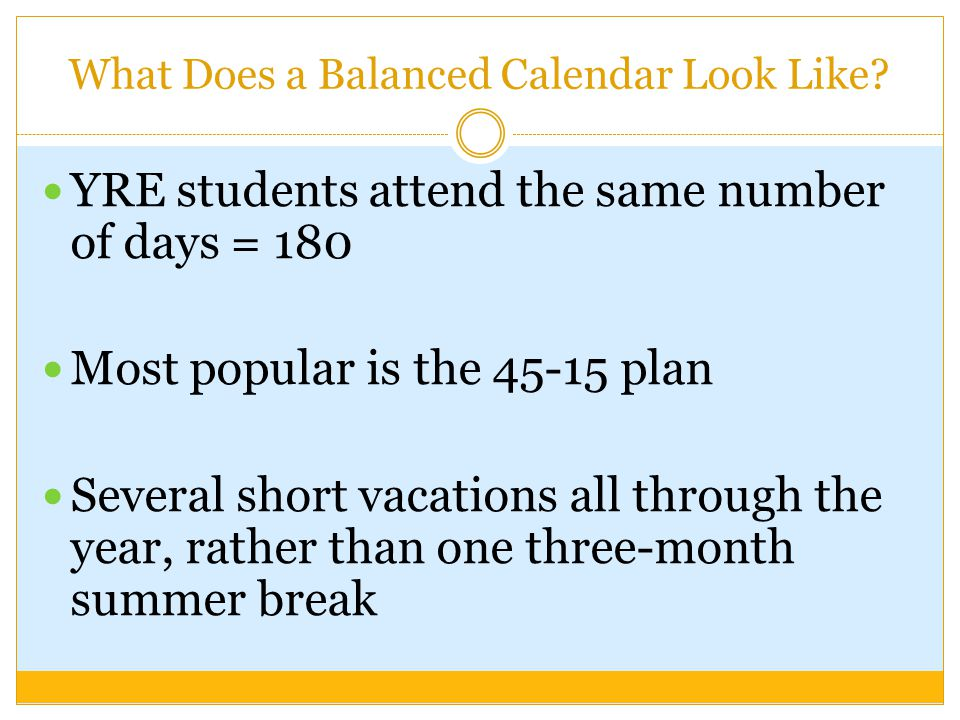 What Does a Balanced Calendar Look Like