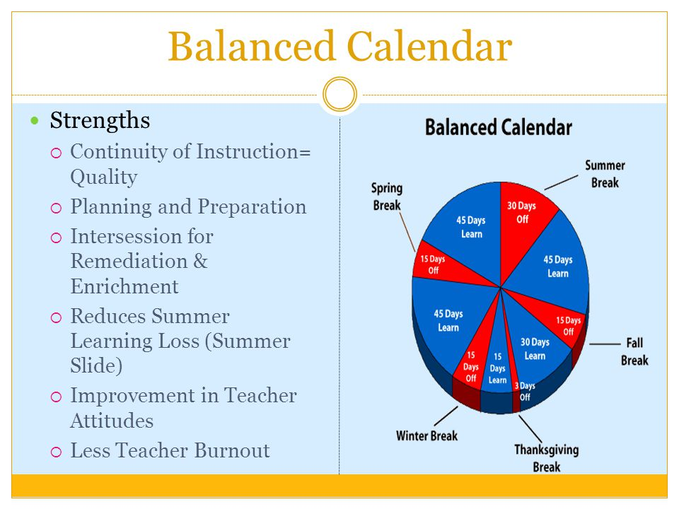 Balanced Calendar Strengths Continuity of Instruction= Quality