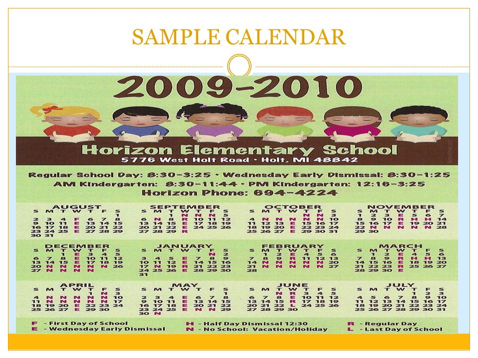 Sample School Calendar