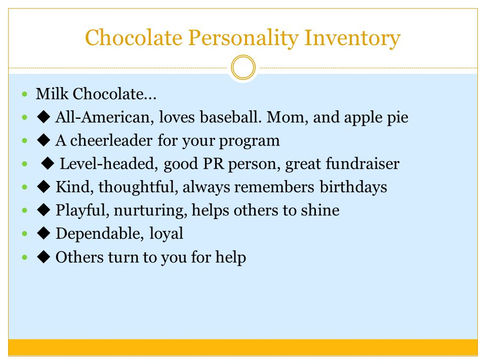 Chocolate Personality Inventory