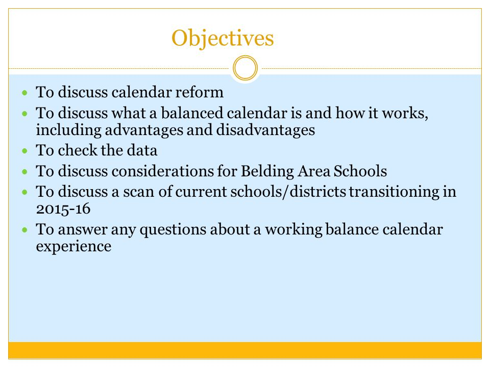 Objectives To discuss calendar reform