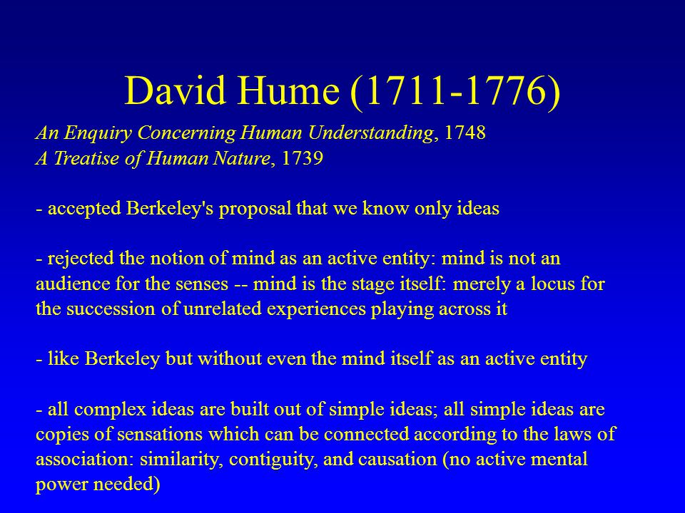 david hume essay concerning human understanding The first part of our discussion of david hume's enquiry concerning human understanding, focusing on sections 1-2.