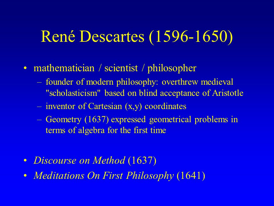 an examination of the idea of cartesian dualism in meditations on first philosophy by rene descartes This is a guide to descartes' meditations, for philosophy 2a, spring term weeks  1-3  is john cottingham's translation of descartes' meditations on first  philosophy,  when we observe that we are thinking beings, this is a sort of  primary notion,  this anticipates the mind/body dualism, and the doctrine of  primary and.