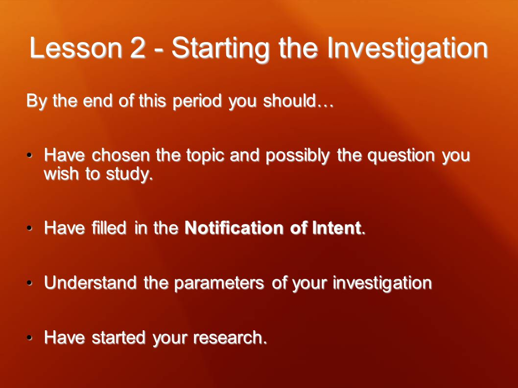 Lesson 2 - Starting the Investigation